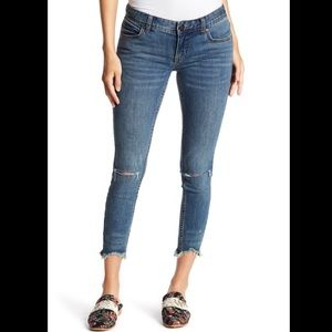Free People | Skinny Low Rise Destroyed Jeans